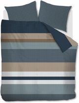 Beddinghouse Grid Stripe Dekbedovertrek - Eenpersoons - 140x200/220 cm - Blue