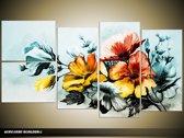 Acryl Schilderij Bloemen   Blauw, Geel   130x70cm 5Luik Handgeschilderd