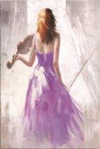 Canvas Schilderij Violiste in paarse jurk - Kunst aan je Muur - Kleur - 50 x 70 cm
