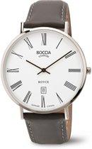 Boccia Titanium 3589-03 Horloge - Leer - Grijs - 41,5 mm