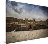 Gebouw van de voorkant in de Colca Canyon vallei in Peru Canvas 90x60 cm - Foto print op Canvas schilderij (Wanddecoratie woonkamer / slaapkamer)