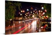 De nachtbrug bij Hoi An in Vietnam Aluminium 60x40 cm - Foto print op Aluminium (metaal wanddecoratie)