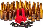 Brew Monkey Flessenset - 24 flessen en kroonkurkapparaat met 50 kroonkurken - Zelf bier brouwen