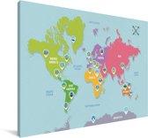 Kleurrijke wereldkaart op een lichtblauwe achtergrond Canvas 140x90 cm - Foto print op Canvas schilderij (Wanddecoratie woonkamer / slaapkamer)