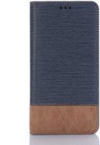 Leren wallet case - iPhone XR - Bi-collerd - tandenstoker textuur - Blauw