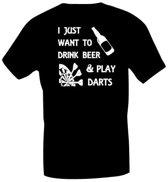 T-shirt met opdruk, bier en darten maat XXL