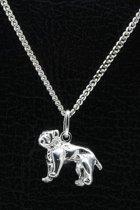 Zilveren Bulldog ketting hanger