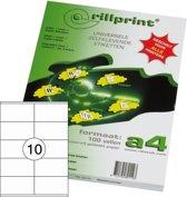 Rillprint Etiketten - type 89149 - Afmeting 105 x 57 mm - 10 op een vel A4 - 100 vel per pak - 1000 etiketten - Geschikt voor Kopieermachines, Laser en Inkjet -printers