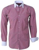 Brentford and Son - Heren Overhemd - Ongetailleerd - Gestreept - Bordeaux Rood
