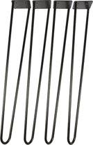 4 x Hairpin poten 74 cm zwart gecoat - 12 mm- inclusief schroeven