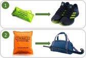 Hockeyschoenen anti-zweetvoeten pakket: 2-PACK No Stink geurzakjes (schoenen, groen) en  1x No Stink XL (sporttas, oranje).