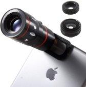 GadgetBay Universele 4in1 lens set Macro Fisheye Groothoek 10x Telephoto iPhone Samsung Sony