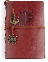 KELERINO. vintage Lederen Notitieboek met windroos  - Bruin