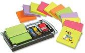 Value Pack: 12 x  Post-it® Z-Notes, Neon Regenboog, 76 x 76 mm, 100 Blaadjes/Blok + GRATIS Combi Design Dispenser + 1 GRATIS Staal Index Tabs
