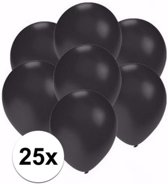 Kleine metallic zwarte ballonnen 25 stuks