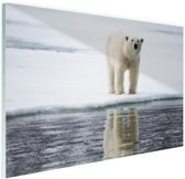 FotoCadeau.nl - Ijsbeer bij het water Glas 90x60 cm - Foto print op Glas (Plexiglas wanddecoratie)