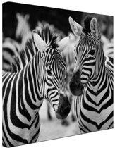 FotoCadeau.nl - Zebra zwart wit Canvas 80x60 cm - Foto print op Canvas schilderij (Wanddecoratie)