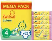 Zwitsal Luiers Maat 4 & Billendoekjes Sensitive - 62 luiers & 285 doekjes - Voordeelverpakking