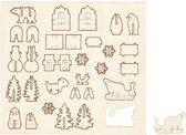 DIY Houten figuren, Kerst, l: 15,5 cm, b: 17 cm, triplex, 1doos, dikte 3 mm