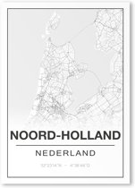 Poster/plattegrond NOORD-HOLLAND - 30x40cm