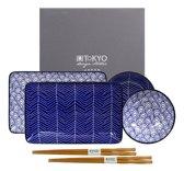 Tokyo Design Studio Le Bleu de Nimes Sushi Servies - hoogwaardig porselein - 6-delig - 2-persoons