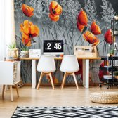 Fotobehang Orange Poppies Black And White | V4 - 254cm x 184cm | 130gr/m2 Vlies