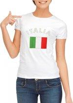 Wit dames t-shirt met vlag van Italie L
