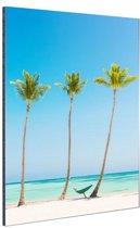 Caribisch strand 3 palmbomen Aluminium 40x60 cm - Foto print op Aluminium (metaal wanddecoratie)
