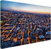 Chicago gebouwen Canvas 80x60 cm - Foto print op Canvas schilderij (Wanddecoratie woonkamer / slaapkamer) / Steden Canvas Schilderijen