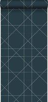ESTAhome behang grafische lijnen donkerblauw - 139093 - 0.53 x 10.05 m