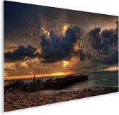Een kleurrijke zonsondergang bij de wolken in het Mexicaanse Isla Mujeres Plexiglas 180x120 cm - Foto print op Glas (Plexiglas wanddecoratie) XXL / Groot formaat!