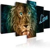 Canvas Schilderij Gouden Leeuw, 5luik, 2 maten