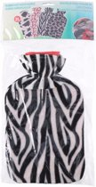 Water kruik met fleece hoes zebra print 2 liter