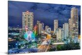 De skyline van de Gold Coast 's nachts in Queensland Aluminium 180x120 cm - Foto print op Aluminium (metaal wanddecoratie) XXL / Groot formaat!