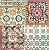 Botanical tegels roze/blw/oranje behang (vliesbehang, oranje)