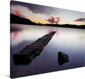 Kalm meer in het Nationaal park Loch Lomond en de Trossachs in Schotland Canvas 140x90 cm - Foto print op Canvas schilderij (Wanddecoratie woonkamer / slaapkamer)