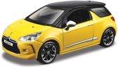 Modelauto Citroen DS3 geel/zwart 1:32 - speelgoed auto schaalmodel