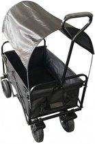Bolderkar / Bolderwagen opvouwbaar zwartmet luxe PU wielen, huif en opberghoes