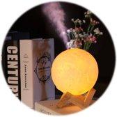 LYCH l 3D Print Maan lamp met luchtbevochtiger/aroma diffuser! l Touch- en dimfunctie l Ø13cm l LED l Met houten standaard l  Aroma diffuser 880ml l  Tafellamp l Leeslamp l Nachtlamp l
