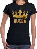 Zwart Koningsdag Queen shirt met gouden glitters en kroon dames S