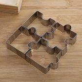 LeuksteWinkeltje Uitsteekvormpjes Puzzel RVS Uitstekers koekjes fondant - 4 stuks