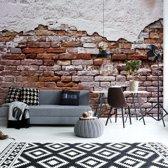 Fotobehang Grunge Brick Wall   V4 - 254cm x 184cm   130gr/m2 Vlies