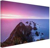Nugget Point Nieuw-Zeeland Canvas 30x20 cm - Foto print op Canvas schilderij (Wanddecoratie)