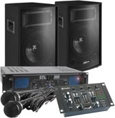 Complete 500W karaokeset met microfoons, mixer, speakers, versterker en kabels - Direct zingen!