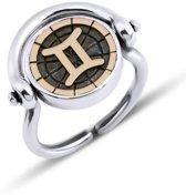 Biggdesign Gemini zilveren ring voor dames | Bronzen detail | Zirkonia steen | Horoscoop sieraden op maat | Verjaardagscadeau | Dubbelzijdige ring | Speciaal ontwerp | 925 sterling zilver