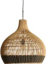 One World Interiors Weave Hanglamp - Groot - Natural/Zwart - Rotan