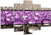 Glasschilderij Druppels | Paars, Grijs | 170x100cm 5Luik | Foto print op Glas |  F004437