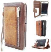 Samsung Galaxy A50 Bruine Wallet / Book Case / Boekhoesje/ Telefoonhoesje / Hoesje met pasjesflip en rits voor kleingeld