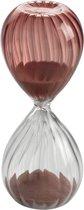 Mascagni - Glazen 2-kleurige zandloper transparant / fuchsia 5 x 13 (h.) cm doorlooptijd 5 minuten - 00 O1382