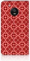 Motorola Moto G5 Uniek Standcase Hoesje Batik Red